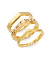 Elizabeth and James | Metallic Dia White Sapphire Stella Stacked Ring Set | Lyst