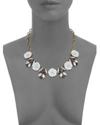 Punch - Metallic Statement Tigers Eye & Shell Crystal Necklace - Lyst