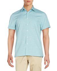Perry Ellis - Blue Cuffed Short Sleeve Cotton Shirt for Men - Lyst