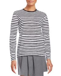 Marc By Marc Jacobs | White Striped Button-back Cotton Tee | Lyst