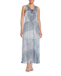 Saks Fifth Avenue | Blue Lace-front Printed Maxi Dress | Lyst