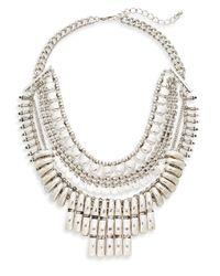Cara | Metallic Multi-row Bib Necklace | Lyst