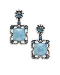 Bavna - 1.19tcw Diamonds, Aquamarine, London Blue Topaz & Sterling Silver Square Drop Earrings - Lyst