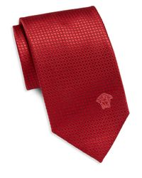 Versace Red Grid Neat Silk Tie for men