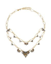 Alexis Bittar | Metallic Elements Mosaic Chain Rose Crystal, Light Ochre Crystal, Clear Crystal & Black Mother-of-pearl Two-tier Necklace | Lyst