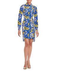 Diane von Furstenberg | Blue Prita Floral Print Silk Blend Shirtdress | Lyst