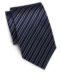 Saint Laurent - Black Striped Silk Tie for Men - Lyst