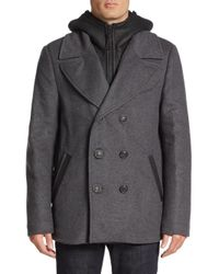 Mackage   Gray Leather Accented Wool-blend Peacoat for Men   Lyst