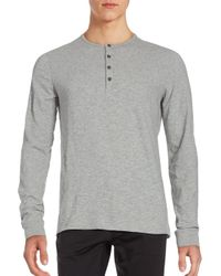 Vince Gray Slub Cotton Henley Tee for men