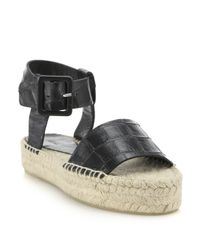 Vince - Black Edina Croc-embossed Leather Espadrille Sandals - Lyst