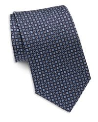 Saks Fifth Avenue | Blue Square Textured Silk Tie for Men | Lyst