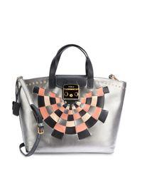 Furla   Metallic Metropolis Abstract Checked Leather Tote Bag   Lyst