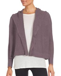 Inhabit | Purple Cashmere Cropped & Hooded Open Front Cardigan | Lyst