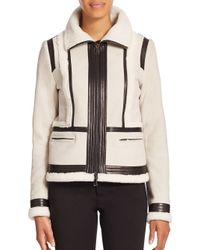 VINCE | Multicolor Shearling & Leather-trimmed Suede Moto Jacket | Lyst