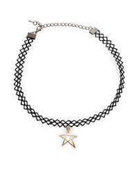 Cara   Black Star Pendant Choker Necklace   Lyst