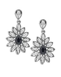 Cara | Metallic Floral Studded Drop Earrings | Lyst