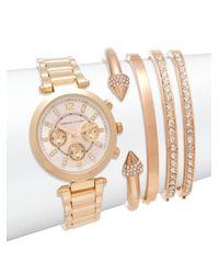 Adrienne Vittadini   Metallic Goldtone Crystal Accented Bracelet Watch Set   Lyst