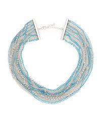 ABS By Allen Schwartz | Blue Pop Of Color Multi-strand Necklace | Lyst