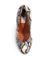 Lanvin Brown Elaphe Ballerina Wedge Pumps