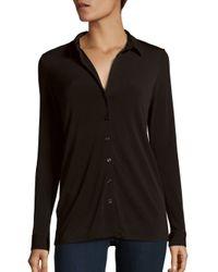 BCBGeneration - Black Solid Long Sleeve Shirt - Lyst