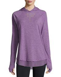 Nanette Lepore | Purple Soft Laser Cut Hooded Pullover | Lyst