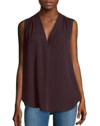 Vince | Purple Shirred Shoulder Silk Top | Lyst