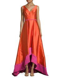 Pamella Pamella Roland | Orange Sleeveless Asymmetrical Trail Gown | Lyst