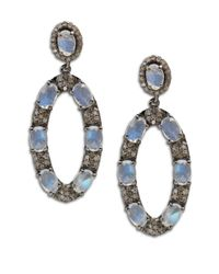 Bavna | Metallic Diamond, Rainbow Moonstone & Sterling Silver Dangle Earrings | Lyst