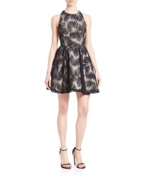 Alice + Olivia | Black Racerback Fit & Flare Party Dress | Lyst