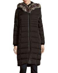 Saks Fifth Avenue | Black Missy Faux Fur-trimmed Hooded Down Coat | Lyst