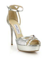 Jimmy Choo | Laurita 135 Glittered Metallic Leather Platform Sandals | Lyst