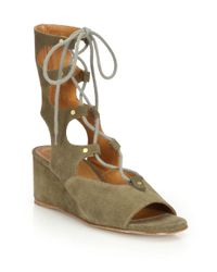 Chloé | Gray Suede Gladiator Wedge Sandals | Lyst