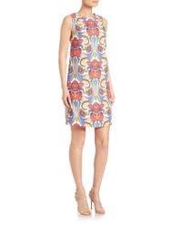 AQUILANO.RIMONDI Multicolor Sleeveless Floral-print Shift Dress