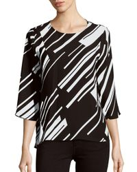 Vince Camuto - Black Three-fourth Sleeve Striped Top - Lyst