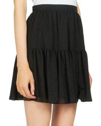 Saint Laurent Black Folk A-line Mini Skirt