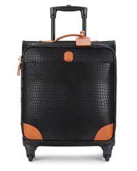 "Bric's | Black Mysafari 20"" Embossed Leather Spinner Carry-on for Men | Lyst"