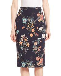 Rebecca Taylor Black Meadow Pencil Skirt