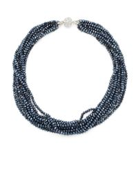 Saks Fifth Avenue | Blue Silvertone Multi-strand Faceted Bead Necklace | Lyst