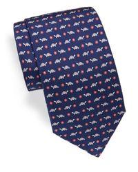 Ferragamo Blue Corolla Tortoise & Floral Printed Silk Tie for men