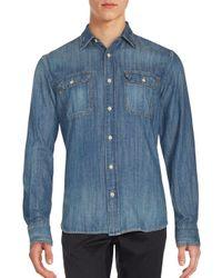 Jean Shop   Blue Two-pocket Long Sleeve Cotton Shirt for Men   Lyst