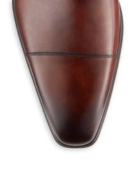 Saks Fifth Avenue Brown Double Monk Strap Leather Shoes for men