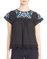 Rebecca Taylor - Black Folk Garden Embroidered Top - Lyst