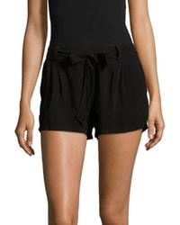 Splendid - Black Solid Elasticized Tie-up Shorts - Lyst
