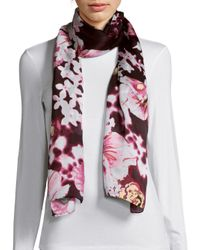 Vince Camuto | Pink Falling Floral Scarf | Lyst