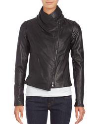 VINCE | Black Leather Scuba Jacket | Lyst