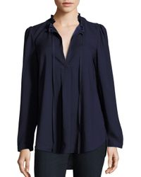 Parker | Blue Solid Long Sleeve Blouse | Lyst