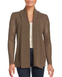 Lafayette 148 New York | Brown Solid Open Front Cardigan | Lyst