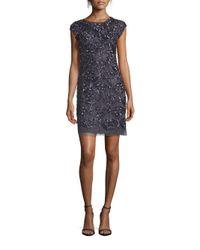 Aidan Mattox | Blue Cap Sleeve Embellished Sheath Dress | Lyst