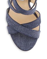 Jimmy Choo   Blue Open Toe Leather Sandals   Lyst