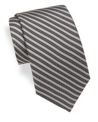 Saks Fifth Avenue | Gray Striped Silk Tie for Men | Lyst